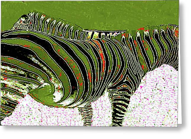 Greeting Card featuring the photograph Zany Zebra - Digitally Modified Photograph by Merton Allen