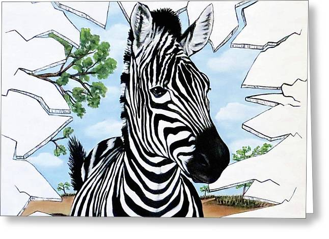 Greeting Card featuring the painting Zany Zebra by Teresa Wing