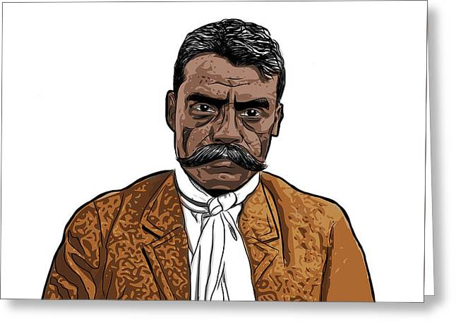 Greeting Card featuring the digital art Zapata by Antonio Romero