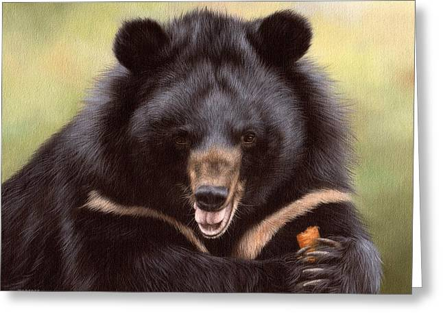 Zebedee Moon Bear - In Support Of Animals Asia Greeting Card by Rachel Stribbling