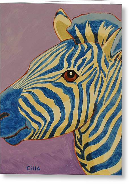 Zebra Picture Prints Greeting Cards - Zeblue Greeting Card by Cilla Mays