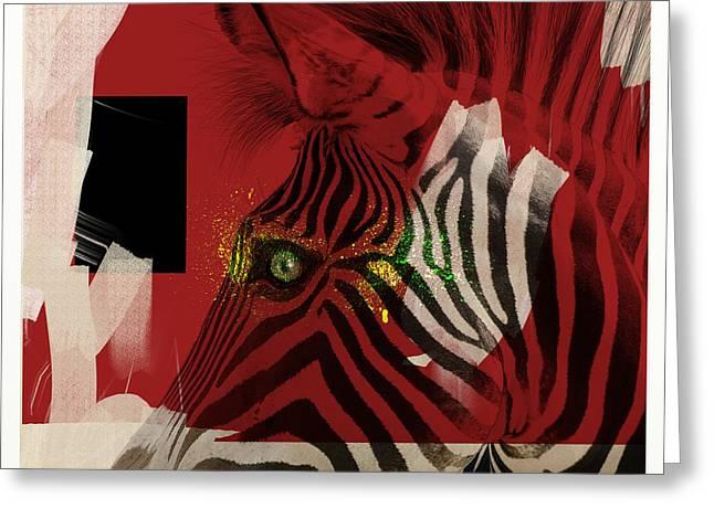 Greeting Card featuring the digital art Zebra 4.0 by Nola Lee Kelsey