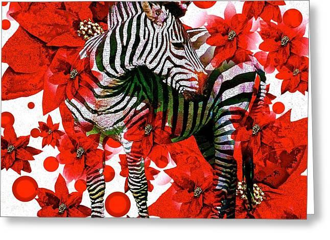 Zebra And Flowers Greeting Card by Saundra Myles