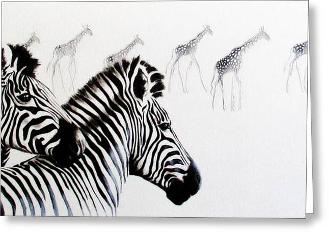 Zebra And Giraffe Greeting Card
