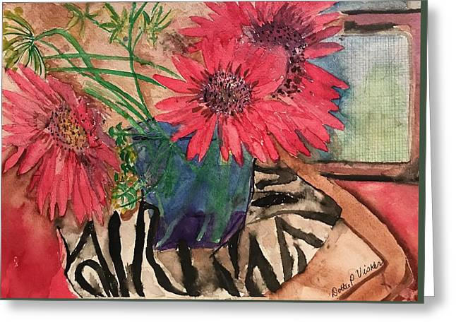 Zebra And Red Sunflowers  Greeting Card