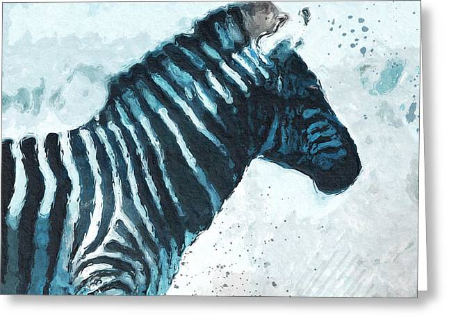 Zebra- Art By Linda Woods Greeting Card by Linda Woods