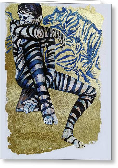 Zebra Boy The Lost Gold Drawing  Greeting Card by Rene Capone