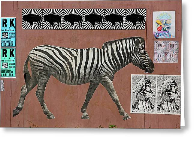 Greeting Card featuring the photograph Zebra Collage by Art Block Collections