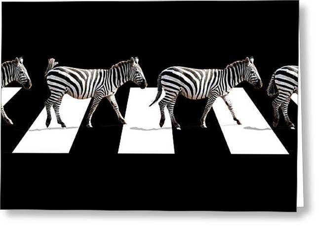 Zebra Crossing In Black And White Greeting Card