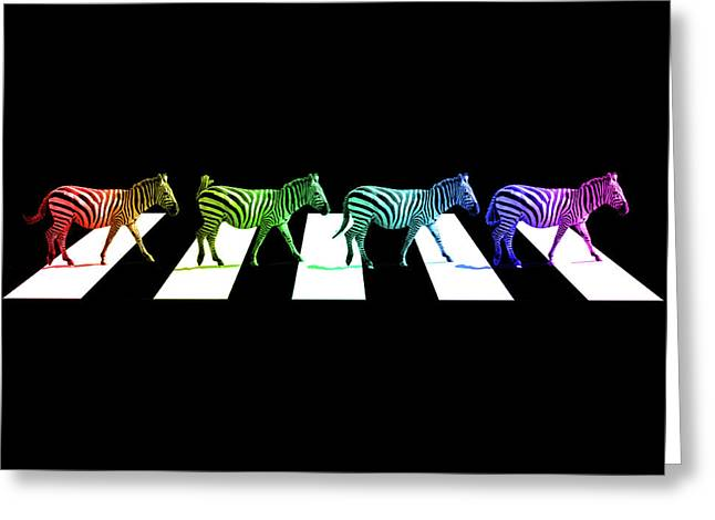 Zebra Crossing Pop Art On Black And White Greeting Card