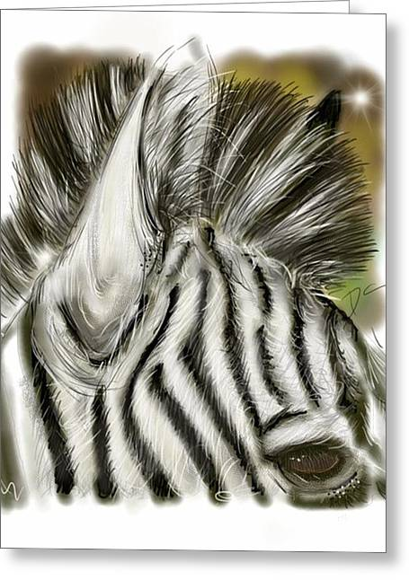 Greeting Card featuring the digital art Zebra Digital by Darren Cannell