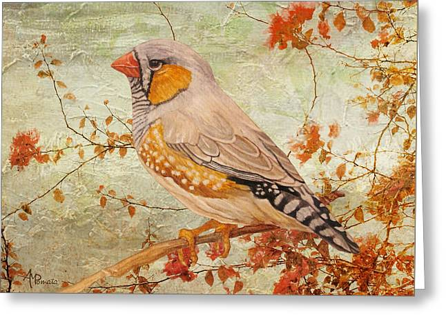 Greeting Card featuring the painting Zebra Finch Among Almond Trees by Angeles M Pomata
