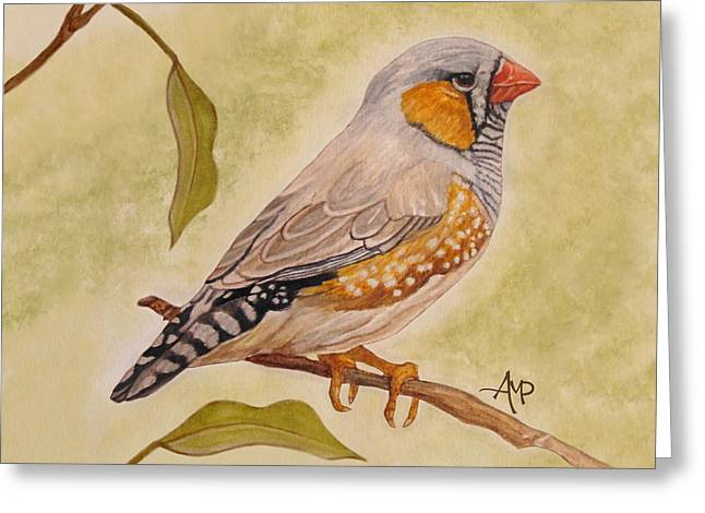 Zebra Finch Watercolor Greeting Card