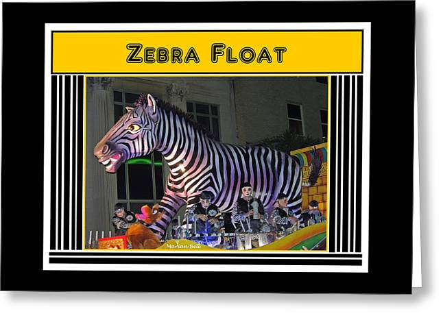 Zebra Float Poster Greeting Card by Marian Bell