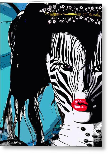 Zebra Girl Pop Art Greeting Card