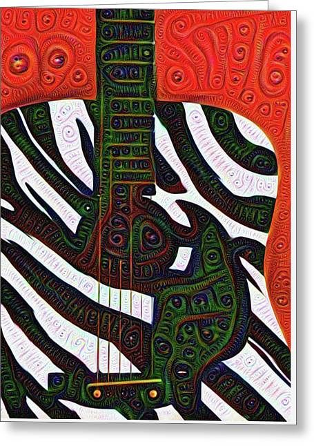 Zebra Guitar Rendering Greeting Card by Bill Cannon
