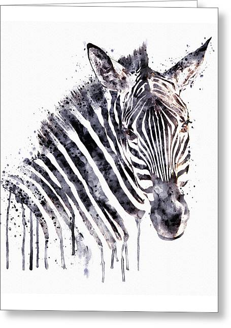 Zebra Head Greeting Card by Marian Voicu
