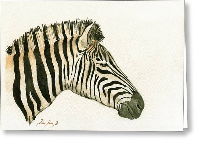 Zebra Head Study Painting Greeting Card by Juan  Bosco