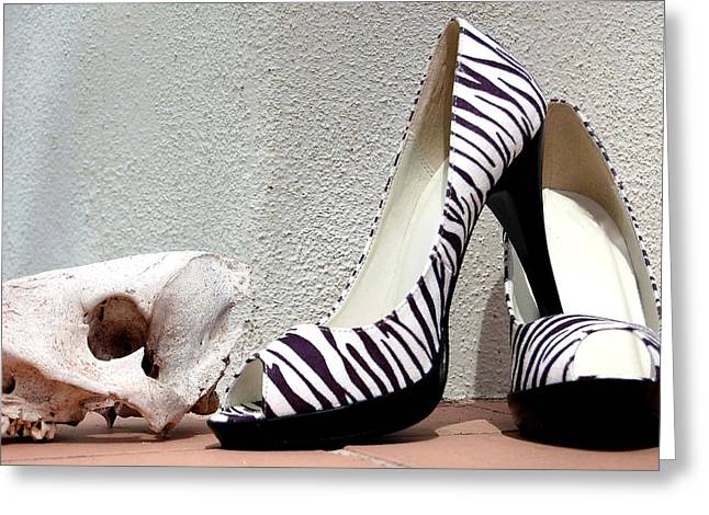 Zebra Heels And Skull Greeting Card
