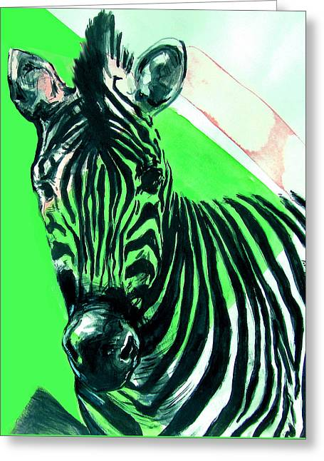 Greeting Card featuring the painting Zebra In Green by Rene Capone