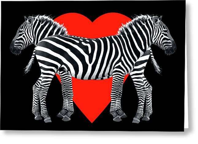 Zebra Love Greeting Card by Gill Billington