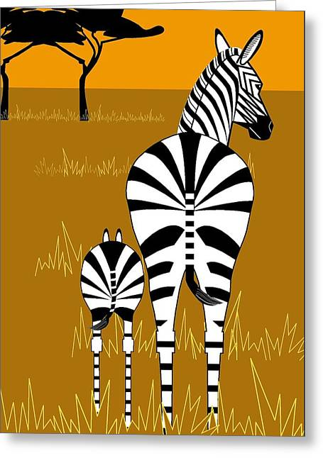 Zebra Mare With Baby Greeting Card