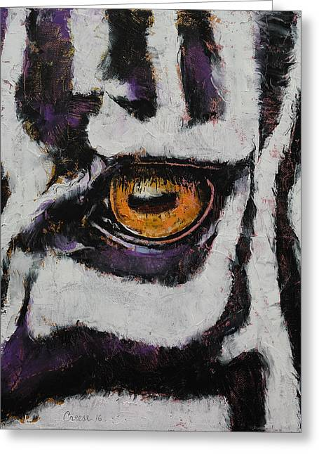 Zebra Greeting Card by Michael Creese
