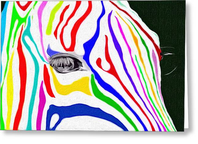 Greeting Card featuring the painting Zebra Nothing Is Black And White by Mark Taylor
