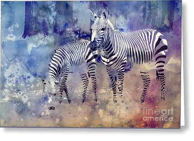 Zebra Paradise Greeting Card by Jutta Maria Pusl