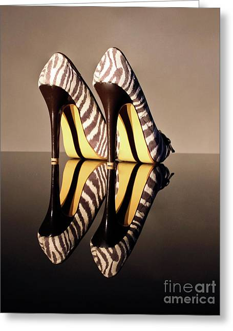 Greeting Card featuring the photograph Zebra Print Stiletto by Terri Waters