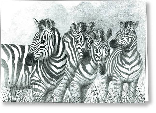 Zebra Quartet Greeting Card