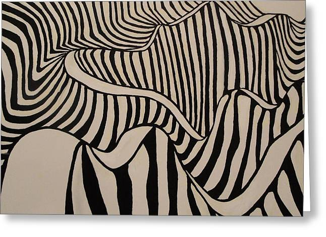 Zebra Road Greeting Card by Stephen Ponting