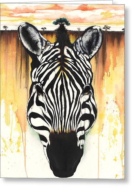 Zebra Rooted Ground Greeting Card