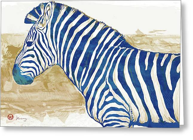 Zebra - Stylised Pop Art Poster Greeting Card by Kim Wang