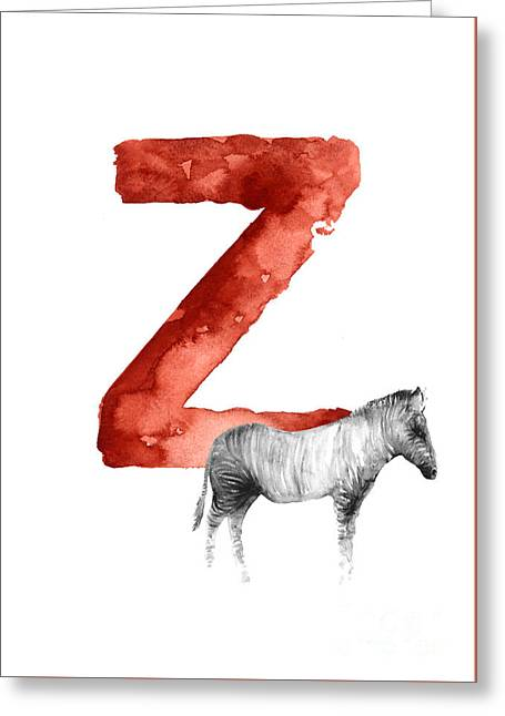 Zebra Watercolor Alphabet Minimalist Painting Greeting Card