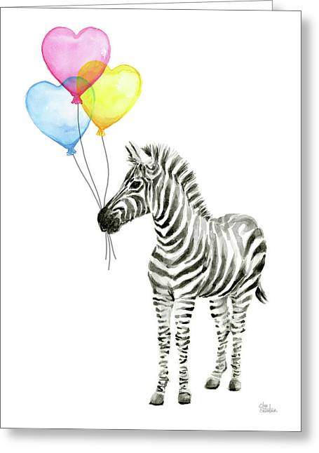 Zebra Watercolor Baby Animal With Balloons Greeting Card