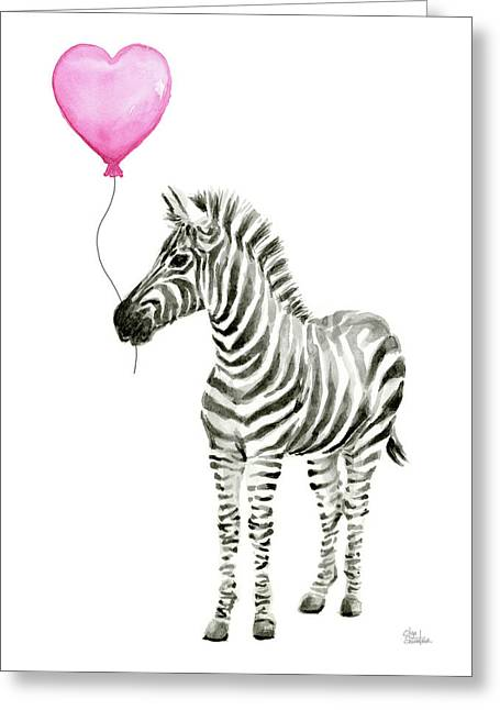 Zebra Watercolor Whimsical Animal With Balloon Greeting Card by Olga Shvartsur