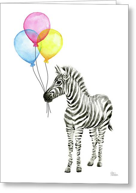 Zebra With Balloons Watercolor Whimsical Animal Greeting Card by Olga Shvartsur