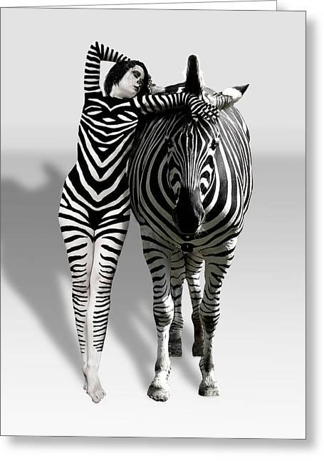 Zebra Woman Greeting Card by Lloyd Burchell