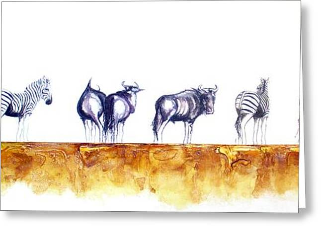 Zebras And Wildebeest 2 Greeting Card