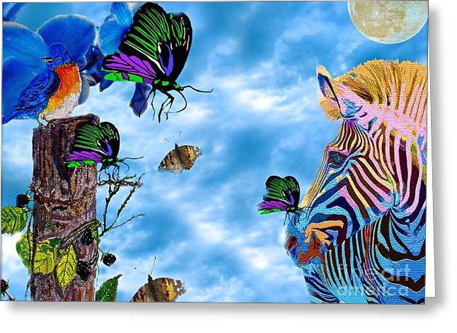 Zebras Birds And Butterflies Good Morning My Friends Greeting Card by Saundra Myles