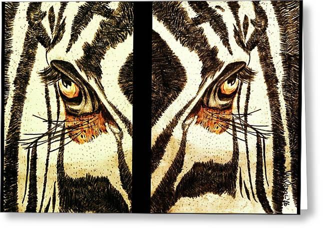 Zebras Eye - Studio Abstract Sepia Greeting Card by Scott D Van Osdol