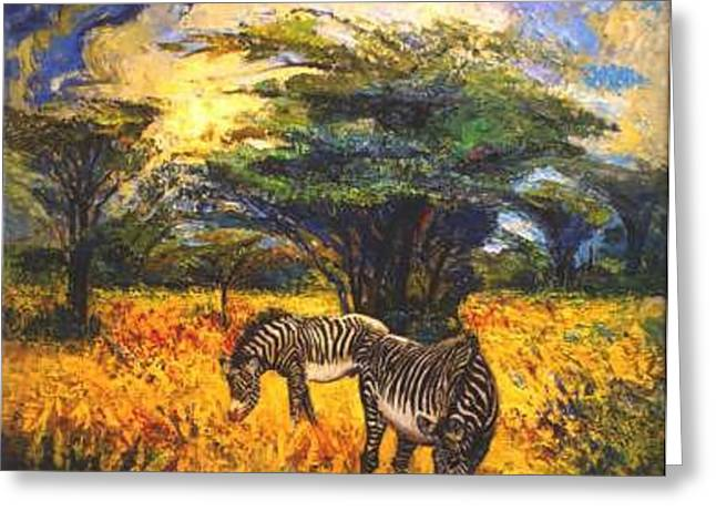 Zebras Greeting Card by Meihua Lu