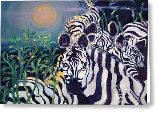 Zebras On The Savanna Greeting Card by Julie Todd-Cundiff