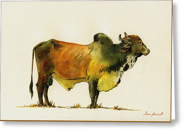 Zebu Cattle Art Painting Greeting Card by Juan  Bosco