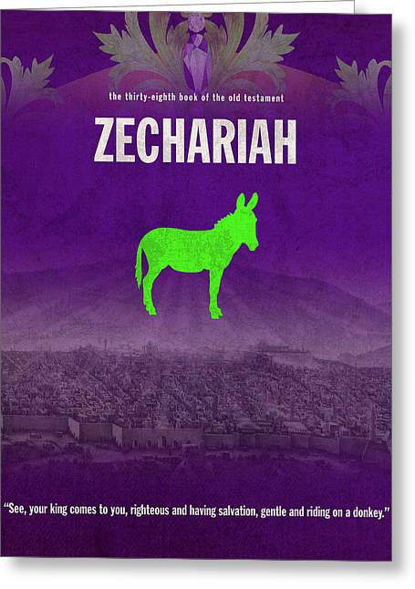 Zechariah Books Of The Bible Series Old Testament Minimal Poster Art Number 38 Greeting Card by Design Turnpike