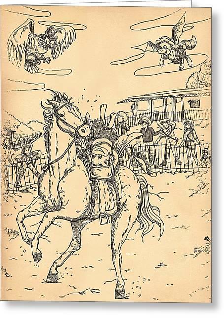 Zeke Rides A Pinto Greeting Card by Reynold Jay
