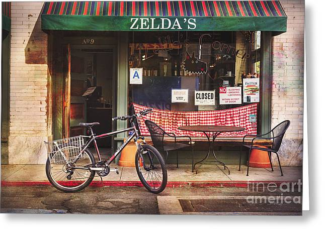 Zelda's Bicycle Greeting Card by Craig J Satterlee