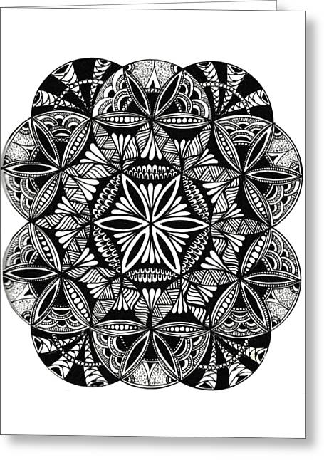 Zen-flower Of Life Greeting Card by Chaitanya Deepti