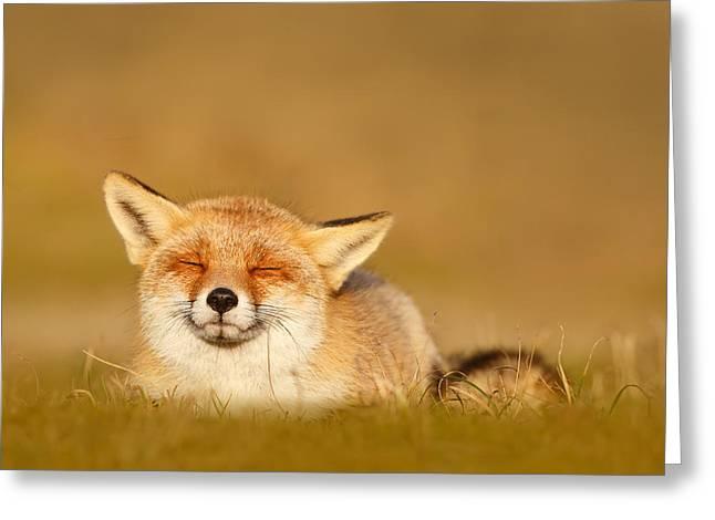 Zen Fox Series - Chill Fox Greeting Card by Roeselien Raimond